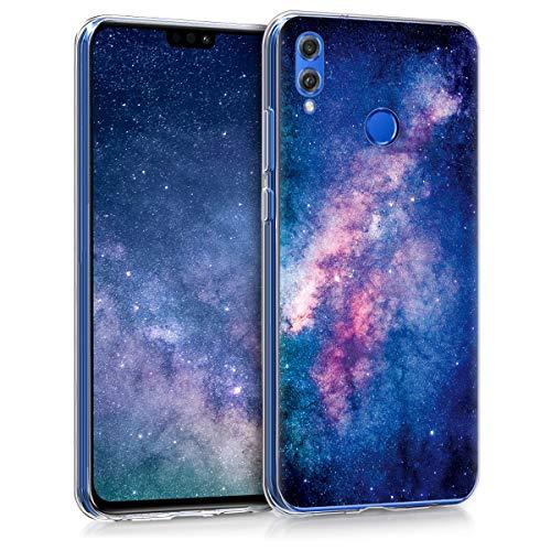 kwmobile Hülle kompatibel mit Huawei Honor 8X - Handyhülle - Handy Hülle Galaxie Sterne Rosa Pink Dunkelblau