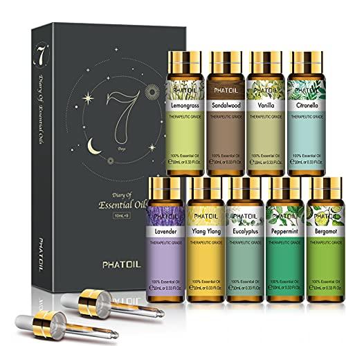 PHATOIL 9PCS Essential Oils Gift Set, 10ml/0.33fl.oz Scented...
