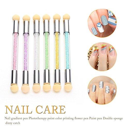 Igemy Lot de poudre de paillettes en dégradé de Dotting Pen Brosse + 2 éponges Nail Art outils