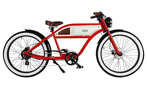 MICHAEL BLAST T4B GREASER RETRO STYLE Electric BIKE - 26' Wheels, Bafang 350W Brushless Electric Motor, 7-speed, 36V13Ah, Li-Ion Battery, Extended Range, Red/White
