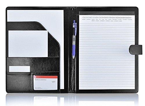 Padfolio Portfolio Resume Folder with Pocket, Premium Faux Leather Interview Writing Legal Pads Document Organizer Portfolio with Business Card Holder (Black)