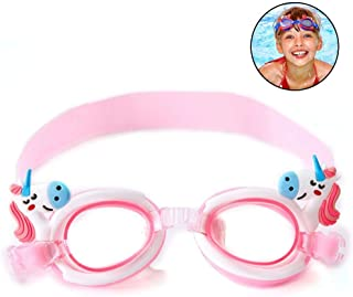 Hamkaw Cute Kids Swim Goggles, Anti-Fog& No Leaking Swimming Goggles with Adjustable Straps for Boys Girls Multiple Choice