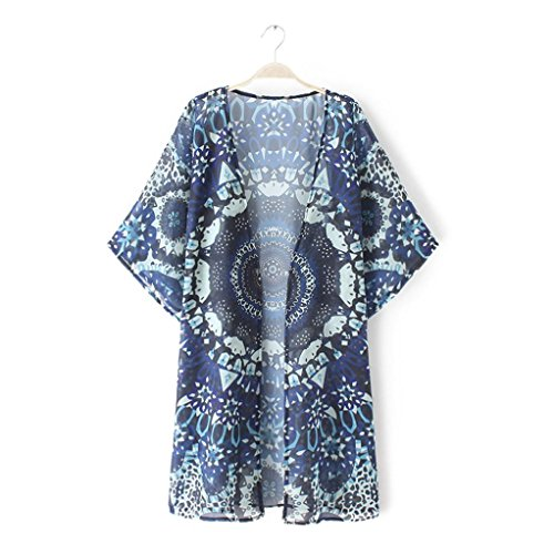 DEELIN La Mandala De Las Mujeres De La Manera del Verano Imprime Kimono Rebeca Floja Camisa De La ProteccióN Solar De La Blusa De La Blusa De La Gasa (L, Azul)