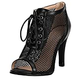 Ciuyurra Women Fashion Summer Mesh Booties Peep Toe High Top Sandals Stiletto High Heels Lace up Gladiator Sandals Party Shoes Heels Black Size 40
