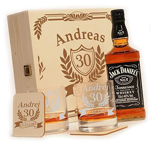 polar-effekt 6-TLG Whisky Geschenk-Set mit Jack Daniels No.7-2 Whiskygläser, 2 Untersetzer und Whiskey Flasche in Geschenk-Box Personalisiert mit Gravur - zum Geburtstag - Motiv Jubiläum