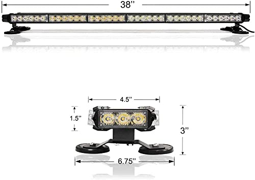 """discount 38"""" Roof wholesale Top Emergency Light, 78 2021 Yellow and White LED Bulbs, 7 Modes Warning Strobe Light Bar for Traffic Visibility and Safety, Universal 12V Application, Magnetic Base outlet sale"""