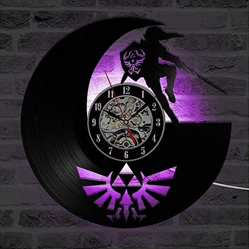 Die Legende von Zelda Antike LED Beleuchtete Vinylaufzeichnung Wanduhr Schatten Spiel Kunst Spiel Wohnkultur Klassische kreative Wanduhr-12 Zoll-Mit LED.