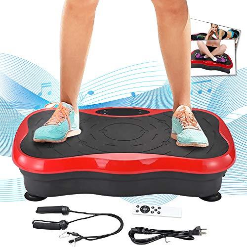 TOPQSC Vibrationstrainer 200 W Mini Fitness Vibrationsplatte mit leisem Motor Maximale Gewichtskapazität 441LBS, 99 Stufen der Intensität, Bluetooth-USB-Musik, Massage Vibrationsboard (rot)