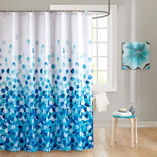 Rarva Washable Waterproof Polyester(Best Hotel Quality Eco Friendly) Liner Set for Bathroom Fabric Shower Curtain with Hooks - 72 x 72 inches,Blue Petals