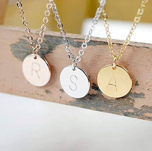 Personalized Disc Initial Necklace - Dainty Personalized Gold Silver Rose Gold Plated Disc Delicate Initial Charms Necklace Hand Stamp bridesmaid and wedding Best Graduation Day gift