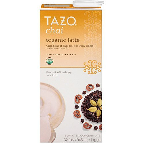 Tazo Organic Chai, Spiced Black Tea Latte Concentrate, 32-Ounce Containers (Pack of 6)