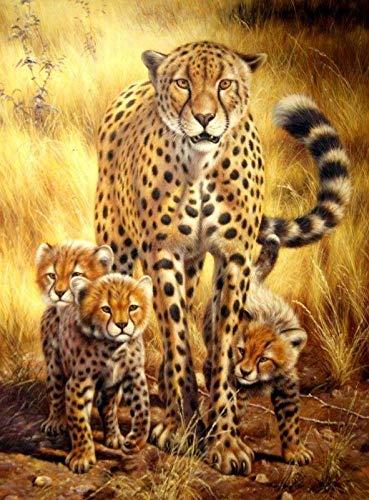 Iyyuor Cheetah Family Full Diamond Painting Kreuzstich-Kits Kunst Hochwertige Kunstwerke 3D Paint by Diamonds Weihnachtsdekoration Geschenke für Familien geeignet (Quadrat 30x40cm)