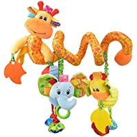 Happy Cherry - Juguetes Colgantes Espiral de Animales para Cuna Cochecito Carrito bebés Recien nacidos Peluche con Mordedor para niños niñas arrastrar - Amarillo