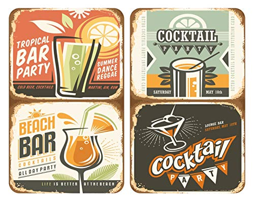 WENKO Coprifornelli in vetro Universal Cocktail - Set di 2 coprifornelli per tutti i tipi di fornelli, Vetro temperato, 30 x 52 cm, Multicolore