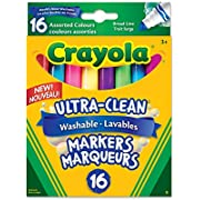 Crayola 56-7916 16 Washable Broad Line Markers, Colossal, School and Craft Supplies, Drawing Gift for Boys and Girls, Kids, Teens Ages 5, 6,7, 8 and Up, Back to school, School supplies, Arts and Crafts,  Gifting