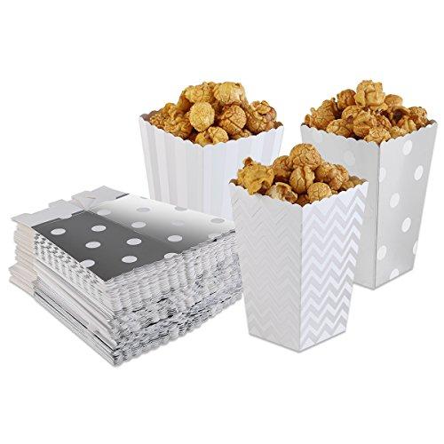PIXNOR Maïs soufflé boîtes Popcorn sacs Pack de 50 (argent)