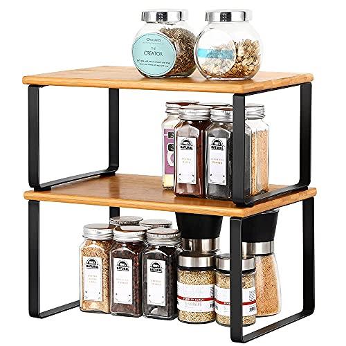 Set di 2 mensole da cucina, portaspezie in legno, organizer per stoviglie, impilabili, set da 2 pezzi