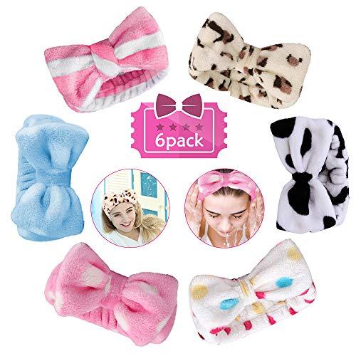 6 Stück Kosmetik Haarband mit Schl6 Stück Kosmetik Haarband mit Schleife, Haarbänder Schleife Damen Schminken Schminkhaarband Weich Haarband Elastisch Stirnband, Beautyhaarband