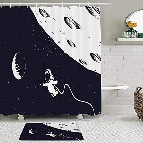 LISNIANY Conjunto De Ducha Cortina Alfombra,Lápiz de Estrellas Astronauta Volador Astronauta Garabato Cerca de Ciencia Lunar Tema Dibujado a Mano Ciencia Dibujo,Uso en baño, Hotel