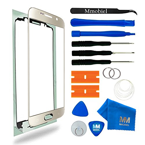MMOBIEL Front Glass Replacement Compatible withSamsung Galaxy S6 G920 Series (Gold) Display Touchscreen incl Tool Kit