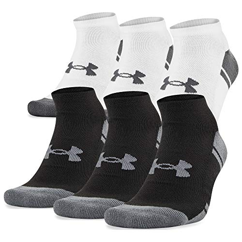 Under Armour Adult Resistor 3.0 No Show Socks, 6-Pairs, Black/White, Shoe Size: Mens 9-11