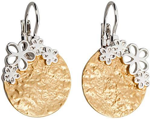Perlkönig | Damen Frauen | Ohrringe Set | Ear Cuffs | Silber Gold Farben | Blättchen mit Blumen | Stecker | Nickelabgabefrei