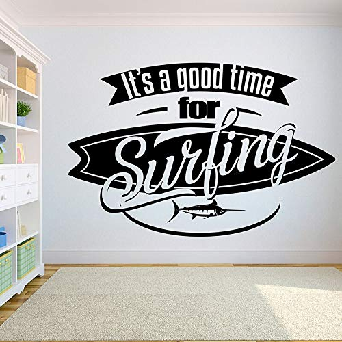 QIEGAO Home Decor Removeable DIY Vinyl Wall Sticker It's Time for Surfing with Swordfish Surfboard Wall Decal Extreme Sports-64x42cm