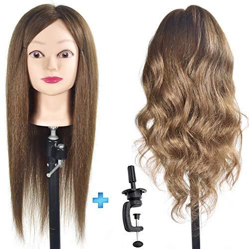 ErSiMan Frisierkopf, weiblich, mit 100% Menschenhaar, 50,8cm, zum Flechten von Haaren, Frisieren, Übungspuppenkopf mit Klemme