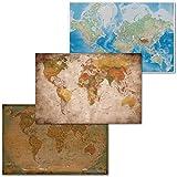 GREAT ART® Lot de 3 Affiches XXL – cartes du monde classiques – rétro & historique Mercator projection globe atlas continents décor intérieure murale (Din A2 - 42 x 59,4)