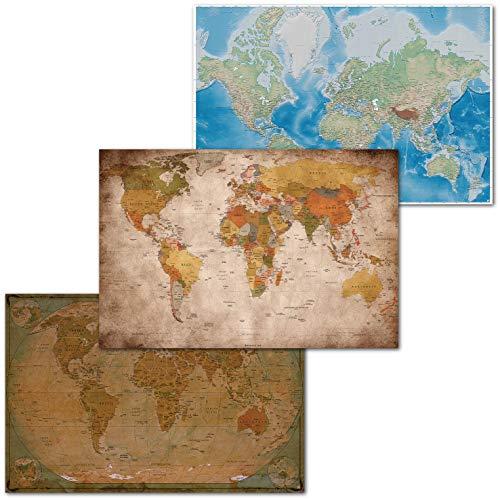 GREAT ART® Juego de 3 Carteles – mapas del Mundo clásico – Mapa del Mundo Retro e histórico Proyección de Mercator Globo Atlas continentes Mural (DIN A2-42 x 59,4)