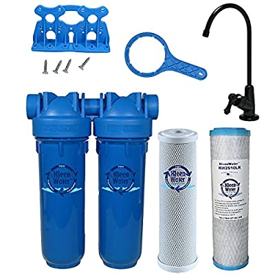 Chlorine Sediment Chloramine Lead Water Filter, KleenWater KW1000 Chemical Removal Under Sink Drinking Water Filtration System, Oil Rubbed Bronze Faucet, Two Filter Cartridges