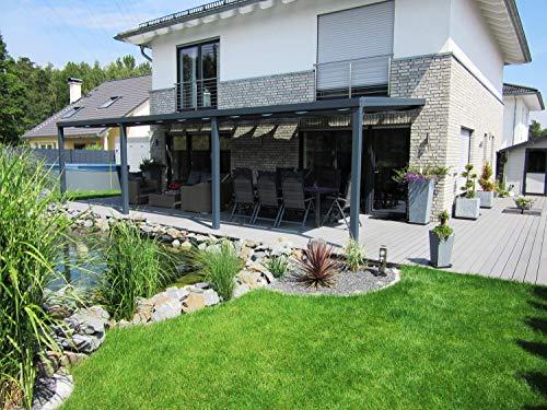 Alu-Terrassenüberdachung AluMaRo Edition Deckmaterial Makrolon® multi UV 3/16-20 Stegplatte klar, Terrassendach Maß 3060 x 2000mm, Farbe auswählen Weiß Ral 9010, Schraubensatz ohne