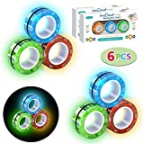 TornadoZ 6 Pcs Luminous Magnetic Ring Fidget Spinner Toys Set, Glow in The Dark Stress Relief Magnet Bracelet Magic Ring for Anti-Anxiety, Autism ADHD - Great Gift for Kids Adults Teen