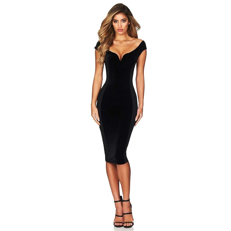 YJiaJu ソリッドカラーVネック半袖ハイライズスリムレジャースプライスジッパーポリエステルヒップタイト女性のドレス (Color : Black, Size : M)
