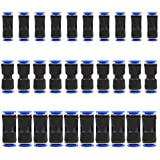 YOTINO 30 pcs Straight Push Connectors One Touch Straight Fittings Plastic Quick Release Connectors for Air Line Water & Fuel Hoses of 1/4 5/16 3/8 Tube (Two Way)