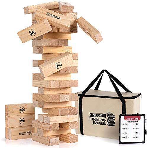 Giant Tumbling Timbers Tower Game - 56 Pieces Jumbo Wooden Blocks - Floor, Outdoor, Backyard and...