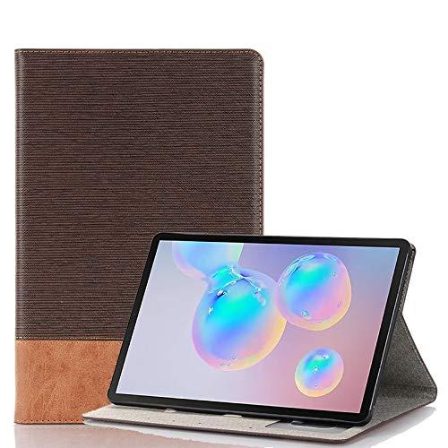 Dmtrab para Para Samsung Galaxy Tab S6 T860 / T865 Caja de la Billetera, Funda de Cuero Horizontal de la Textura Cruzada con Ranuras para Soporte y Tarjeta (café) (Color : Coffee)