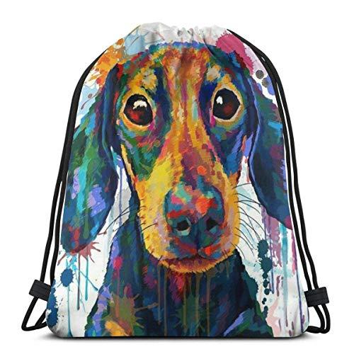 asdew987 Mochila con cordón para adultos, diseño de perro colorido y ligero, para guardar cuerdas.