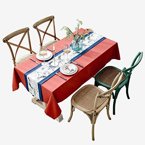 XiaoXIAO Tovaglia - Tovaglia Rettangolare Di Lino Nordico Retro Rosso Salotto Tavolino Tavolo Decorazione Panno Tovaglia Natale Capodanno (Dimensioni Personalizzabili) Tovaglia ( Size : 130X220Cm )