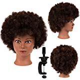 Afro Hair Manikin Head 100% Human Hair Mannequin Head Training Head Manikin Cosmetology Doll Head kinky Curly Mannequin Head Doll Heads for Cosmetology Training Head (new-SY)