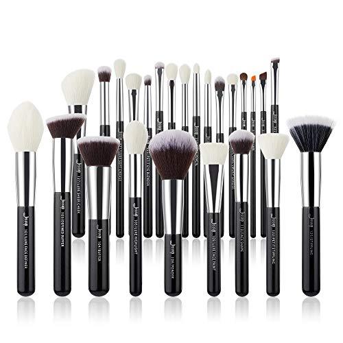 Jessup pinceaux maquillages 25 pièces Ensemble kit professionnel Beauty Cosmetic Foundation Powder Blush Rouge lèvres Brosses cheveux synthétiques naturelles Noir / Argent T175