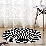 Rond Noir Blanc Grille Tapis 3D Illusion Vortex Pièce Chambre à Coucher Antidérapant Sol Tapis Maison Tapis Tapis