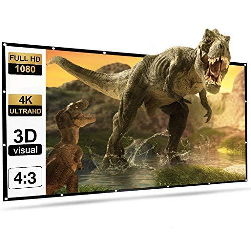 GZQDX Pantalla de proyección 150 pulgadas 4:3 portátil plegable pantalla de película HD arruga-resistente al aire libre interior pantalla proyector para cine en casa