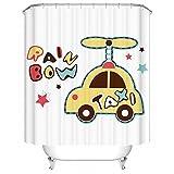 LAundNA Karikatur-Auto-Qualitäts-Polyester-Gewebe-Badezimmer-Duschvorhang-Set mit Haken für Kinder & Kinder , 200*180cm