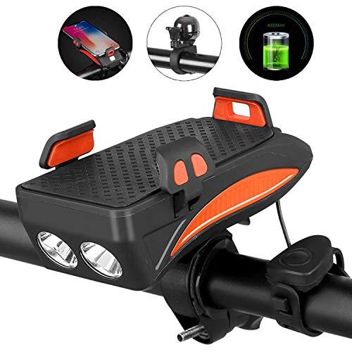 BSTCAR Fahrradlicht USB, Fahrrad-Led-Licht Mountainbike Leuchte,4 in 1 Wiederaufladbare Fahrradset, Mit 130 Dezibel Lautsprecher, 4000Ma Power Bank, Handyhalterung, 400 Lumen Fahrradlampe