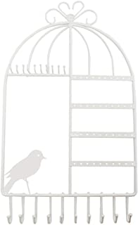 WELL-STRONG Earring Necklace Holder Birdcage Wall Mount Jewelry Organizer Hanger Girls White