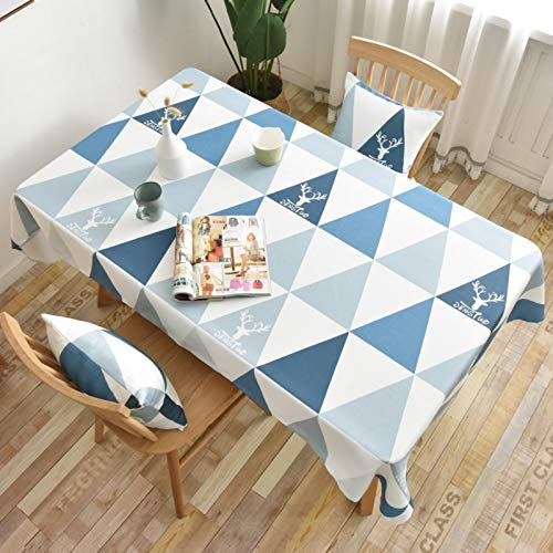 WSJIABIN Home Decor Tablecloth Waterproof and Oilproof Geometric Blue Triangle Table Cloth Round Table Nordic Coffee Table Cloth Rectangular Christmas Elk Cover Towel Tablecloth