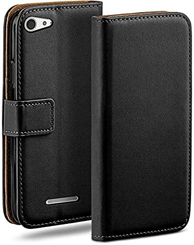 moex Klapphülle kompatibel mit Sony Xperia E3 Hülle klappbar, Handyhülle mit Kartenfach, 360 Grad Flip Hülle, Vegan Leder Handytasche, Schwarz