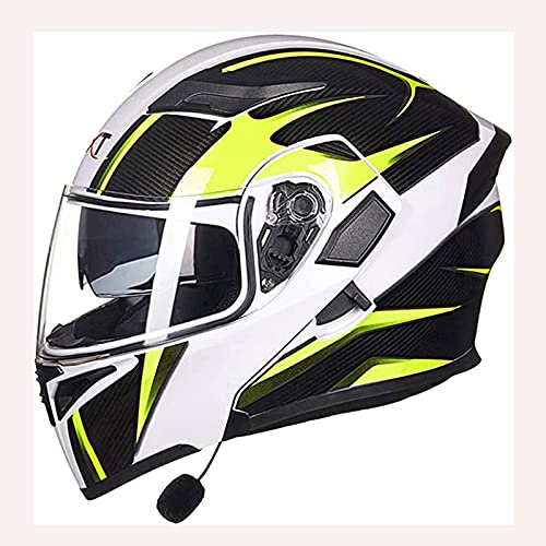 JIE. SXRTLCasco de Racing Blip-up Helmets Casco de Motocicleta con Cara Completa Casco Integrado de Bluetooth Casco Modular Certificado por ECE para Adultos con Anti-Niebla Doble Lente,6,XL
