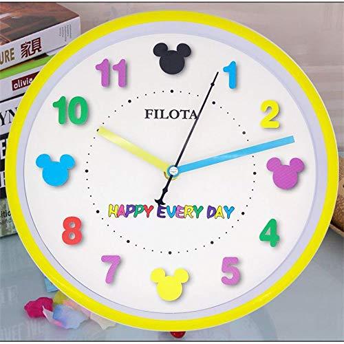 SMAQZ Wanduhr Cartoon Cute Wanduhr Schlafzimmer Mute Wandkarte Kindergarten Uhr Bunte Mickey Maus 26 cm
